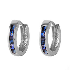 1.3 CTW 14K Solid White Gold Hoop Earrings Natural Sapphire