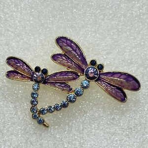 Signed NAPIER Vintage DRAGONFLY DUO BROOCH Pin Rhinestone Enamel Costume Jewelry