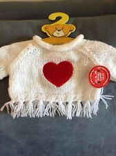 Build A Bear White Fringe Sweater With Red Center Heart - New With Tags