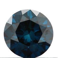 1.00 Ct  Round Brilliant cut Enhanced Fancy Vivid Blue Loose Certified Diamond