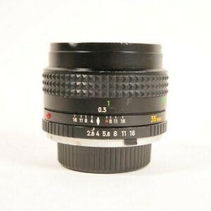 Vintage Minolta MC W Rokkor f=35mm 1:2.8 Wide Angle Prime Camera Lens SR Mount