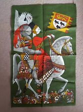 More details for vintage irish linen tea kitchen towel-ulster-canterbury tales - unused - no-6932