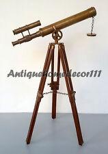 MARINE NAVY ANTIQUE VINTAGE BRASS DOUBLE BARREL TELESCOPE W/ WOOD TRIPOD STAND