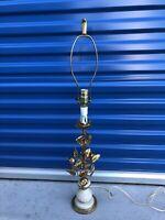 vintage gold metal table floral rose lamp Vine White Base See Description