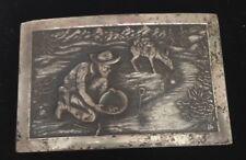 True Vintage Gold Panning Miner Mining Belt Buckle Pot Metal Detailed Original