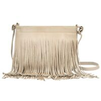 Women Fringe Shoulder Bag Casual Tassel Crossbody Bag Faux Leather Handbag Purse