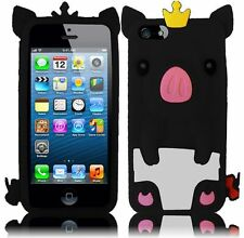 Apple iPhone 5 5S SE Rubber SILICONE Soft Skin Case Cover Cute Crown Pig Black