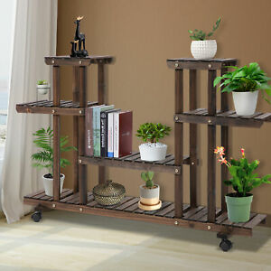 Outsunny Movable 4-Tier Garden Holder Display Shelf Outdoor Flower Display Stand
