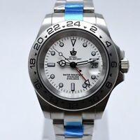 Steel Bagelsport Automatic Mechanical White Dial Calendar Mens Sport Wrist Watch