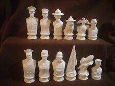 E711 - Ceramic Bisque Doc Holliday Marine vs Navy chess set - Ready to Paint