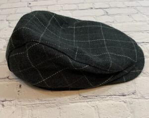 Dockers Newsboy Cap Hat Wool Blend Gray Windowpane Fitted Cabbie S/M