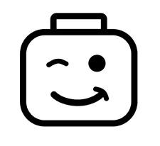 Occhiolino LEGO Man, auto, camper, camper, muro, porta, adesivi, decalcomania.