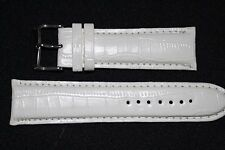 24mm Blanco Reloj Correa de banda de cuero India Acolchado, hebilla de cromo. Gratis P&P. (AD)