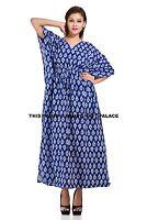 Indian Beautiful Cotton Kaftan Dress Batik One Size Plus Beach Indigo Blue Gown