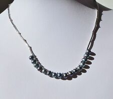 Sterling Silver 925 South Sea Baroque Gray Tahitian Cultured Pearl Bead Necklace