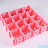 4xAdjustable DIY Grid Drawer Closet Divider Storage Organizer Clapboard Pink