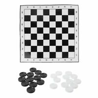 Portable International Chess Checkers Draughts Foldable White & Black Board Game