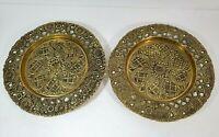 Vtg Art Nouveau INDIA Brass Metal Plate Pillar Spike Candlestick Holder -Set 2