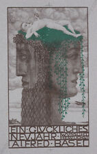 """Alfred Basel (1876-1920) """"New Year Greetings"""", Color Lithograph, ca.1910"""