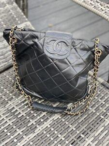 Vintage Genuine Chanel quilted leather bucket hobo shoulder bag chain strap