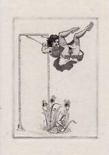 ex libris erotique MARK SEVERIN etching scarce erotic bookplate erotica