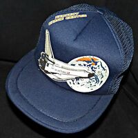 1980s Vintage Nasa Kennedy Space Center Shuttle Mesh Snapback Trucker Cap Hat