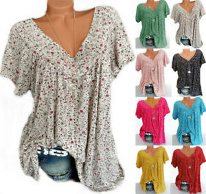Summer Womens V-Neck Floral Long Tops Shirt Ladies Casual Loose Blouse Plus Size