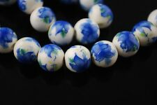 10pcs 12mm Round Porcelain Ceramic Loose Spacer Beads Big Hole Charms Blue