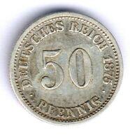 Deutsches Reich 50 Pfennig 1875 C. Silber Jaeger 7, Kratzer, ss+/ss