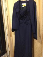 "Daymor Couture Navy Mother Of The Bride Dress With Jacket Size 8 Bust 35"" W 30"""
