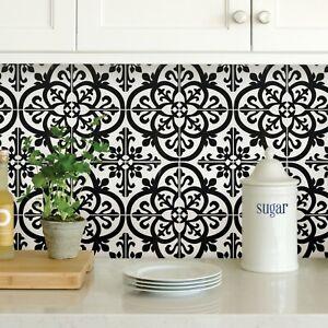 Wallpops Avignon Black and White Peel and Stick Backsplash Tiles Contemporary