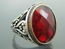 Turkish Handmade Ottoman Style 925 Sterling Silver Garnet Stone Men's Ring Sz 13