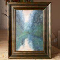 The morning fog - Framed ORIGINAL by M. Sacke, Colorful Landscape Oil Painting