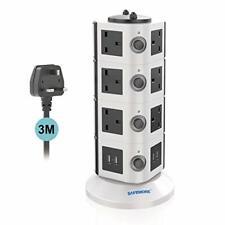 Safemore de extensión de Torre, 14 Gang tira de alimentación Enchufe de múltiples protector contra sobrecarga
