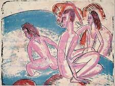 ERNST LUDWIG KIRCHNER GERMAN THREE BATHERS STONES OLD ART PAINTING PRINT BB5285B
