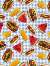Picnic Fabric - Hot Dog Hamburger Corn on Blue Plaid - Timeless Treasures YARD
