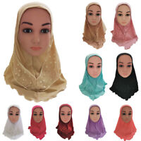 Girls Kids Muslim School Hijab Islamic Hat Lace Arab Scarf Shawls Headscarf Caps
