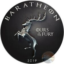 BARATHEON Ours Fury Game of Thrones GOT Walking Liberty 1 Oz Silver Coin 1$ USA