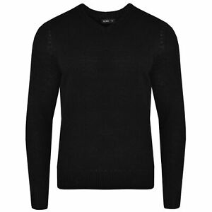 Mens Knitwear Pullover V Neck Long Sleeve Sweatshirt Sweater Plain Solid Jumper