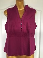 Marks And Spencer Autograph Ladies Magenta Linen Sleevless Petite Top Size 14