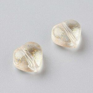 10 Glass Heart Beads Charms Gold Electroplated Valentines Jewelry Supplies Mix
