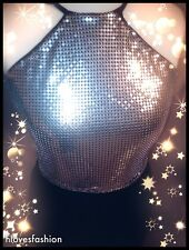 ✨Silver Metallic Sparkle Halter neck Scrappy Backless Top One Size RARE FAST📮✨