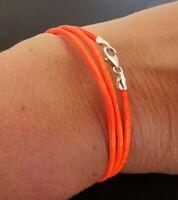 """2mm Neon Orange Leather Triple Wrap Bracelet Sterling Silver Lobster Clasp 7"""""""