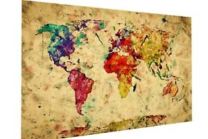 Vintage painting art deco MAP OF WORLD poster canvas framed color