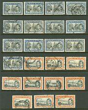 Nigeria 1938. 2/6 & 5/- valeurs. bon à fine utilisé. diverses perforations shades