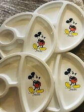 Mickey Mouse Plates with Food Dividers Walt Disney Productions vintage used