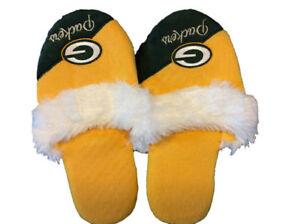 Green Bay Packers Women's Team Logo Name Cursive Colorblock Slipper