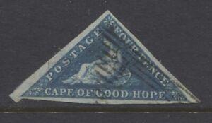 CAPE OF GOOD HOPE - 1855/63 4d DEEP BLUE WMK SIDEWAYS FINE USED SG.6c (REF.E10)