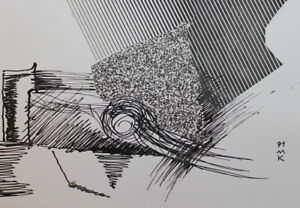 1991 Abstract Modernism Ink Collage Drawing Signed