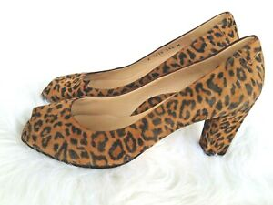Taryn Rose Women's Brown Black Suede Animal Print Open Toe Heel Shoe Sz 38 1/2
